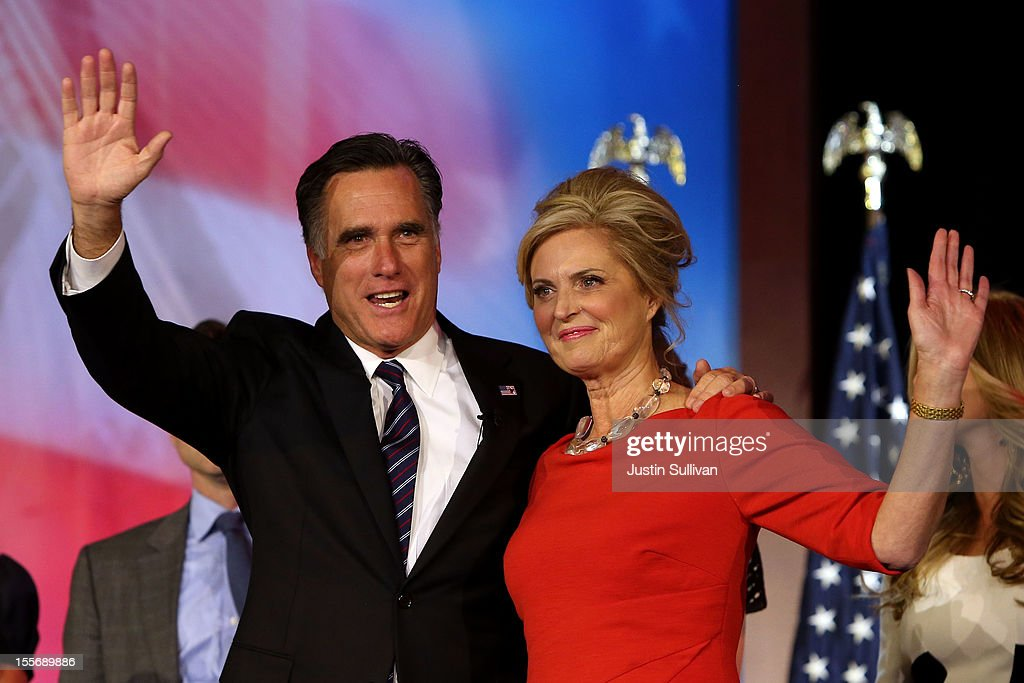 Republican presidential candidate, <a gi-track='captionPersonalityLinkClicked' href=/galleries/search?phrase=Mitt+Romney&family=editorial&specificpeople=207106 ng-click='$event.stopPropagation()'>Mitt Romney</a>, wife, <a gi-track='captionPersonalityLinkClicked' href=/galleries/search?phrase=Ann+Romney&family=editorial&specificpeople=868004 ng-click='$event.stopPropagation()'>Ann Romney</a>, wave to the crowd on stage after conceding the presidency during <a gi-track='captionPersonalityLinkClicked' href=/galleries/search?phrase=Mitt+Romney&family=editorial&specificpeople=207106 ng-click='$event.stopPropagation()'>Mitt Romney</a>'s campaign election night event at the Boston Convention & Exhibition Center on November 7, 2012 in Boston, Massachusetts. After voters went to the polls in the heavily contested presidential race, networks projected incumbent U.S. President Barack Obama has won re-election against Republican candidate, former Massachusetts Gov. <a gi-track='captionPersonalityLinkClicked' href=/galleries/search?phrase=Mitt+Romney&family=editorial&specificpeople=207106 ng-click='$event.stopPropagation()'>Mitt Romney</a>.