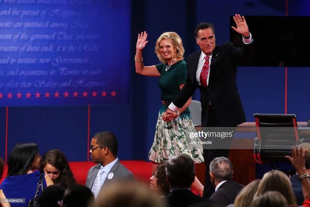 Republican presidential candidate Mitt Romney with wife, Ann Romney wave on stage after the debate at the Keith C. and Elaine Johnson Wold Performing Arts Center at Lynn University on October 22, 2012 in Boca Raton, Florida. The focus for the final presidential debate before Election Day on November 6 is foreign policy.