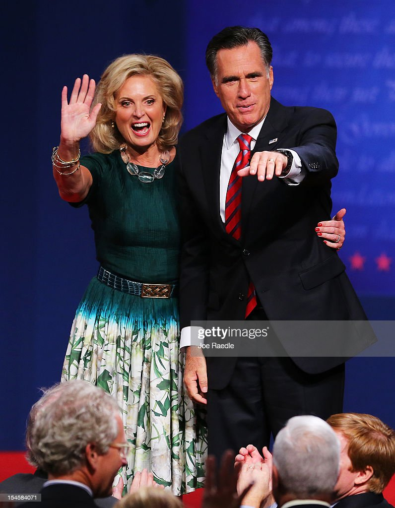 Republican presidential candidate <a gi-track='captionPersonalityLinkClicked' href=/galleries/search?phrase=Mitt+Romney&family=editorial&specificpeople=207106 ng-click='$event.stopPropagation()'>Mitt Romney</a> with wife, <a gi-track='captionPersonalityLinkClicked' href=/galleries/search?phrase=Ann+Romney&family=editorial&specificpeople=868004 ng-click='$event.stopPropagation()'>Ann Romney</a> wave on stage after the debate at the Keith C. and Elaine Johnson Wold Performing Arts Center at Lynn University on October 22, 2012 in Boca Raton, Florida. The focus for the final presidential debate before Election Day on November 6 is foreign policy.
