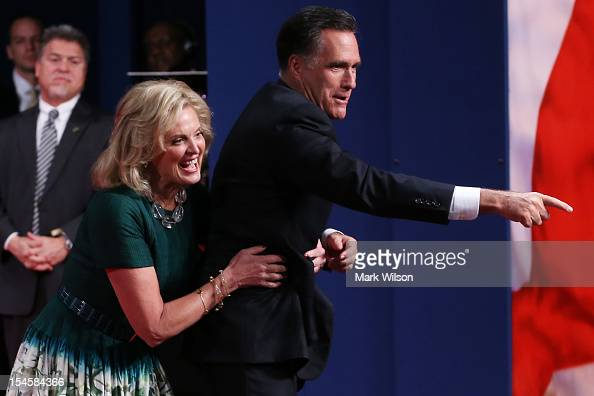 Republican presidential candidate Mitt Romney with wife Ann Romney greet people on stage after the debate at the Keith C and Elaine Johnson Wold...