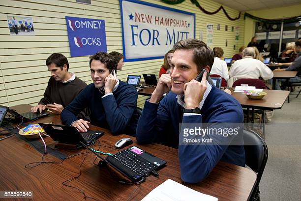 Republican presidential candidate Mitt Romney's sons attend a phonathon at campaign headquarters in Manchester New Hampshire From the right are Matt...