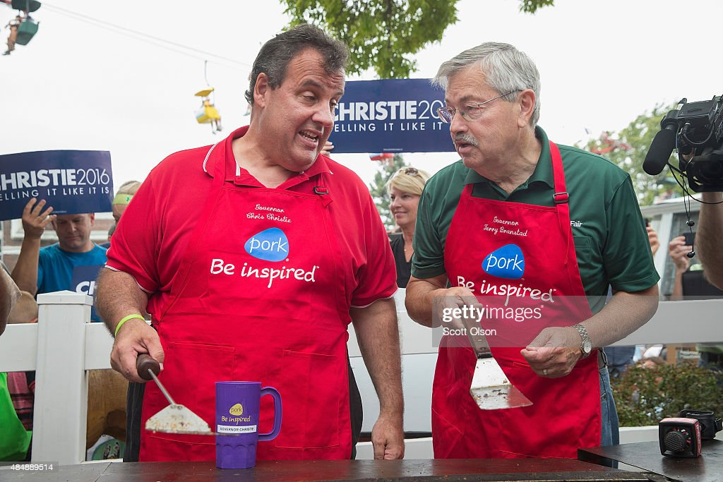 Republican presidential candidate New Jersey Governor <a gi-track='captionPersonalityLinkClicked' href=/galleries/search?phrase=Chris+Christie&family=editorial&specificpeople=6480114 ng-click='$event.stopPropagation()'>Chris Christie</a> (L) and Iowa Governor <a gi-track='captionPersonalityLinkClicked' href=/galleries/search?phrase=Terry+Branstad&family=editorial&specificpeople=985886 ng-click='$event.stopPropagation()'>Terry Branstad</a> help to cook pork at the Iowa Pork Producers Tent at the Iowa State Fair on August 22, 2015 in Des Moines, Iowa. Presidential candidates have a long tradition of making campaign stops at the fair.