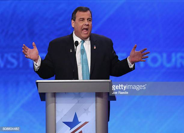 Republican presidential candidate New Jersey Governor Chris Christie participates in the Republican presidential debate at St Anselm College February...