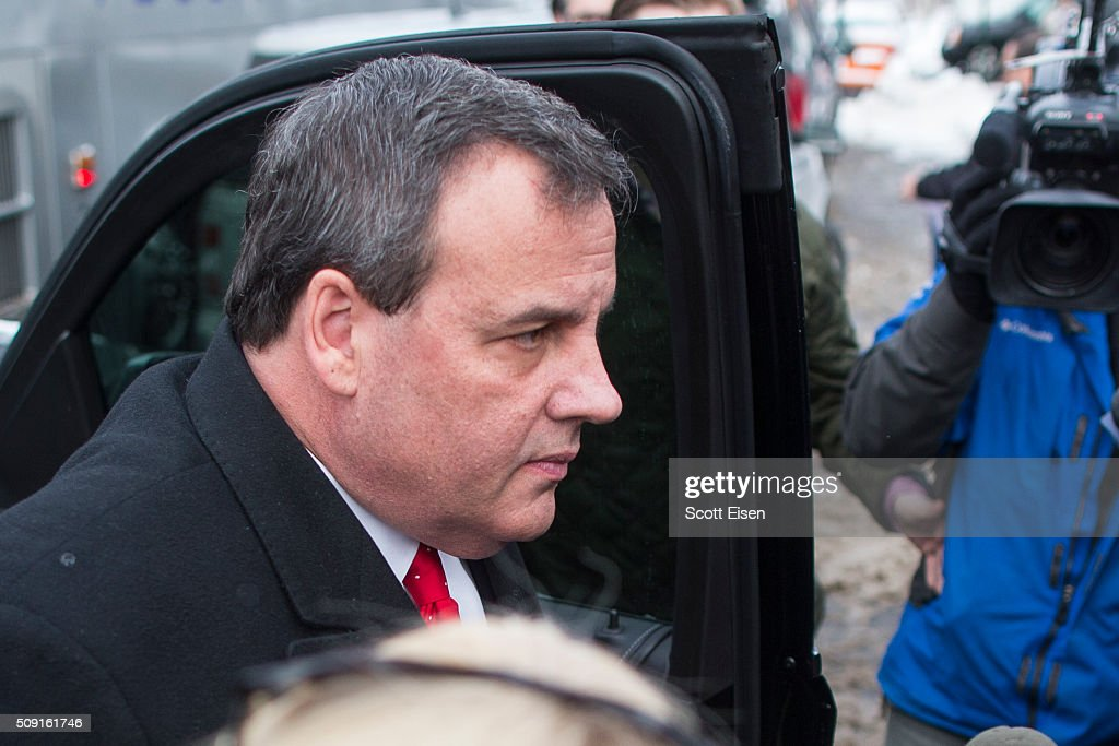 Republican presidential candidate New Jersey Governor <a gi-track='captionPersonalityLinkClicked' href=/galleries/search?phrase=Chris+Christie&family=editorial&specificpeople=6480114 ng-click='$event.stopPropagation()'>Chris Christie</a> exits his SUV outside the polling place at Webster School February 9, 2016 in Manchester, New Hampshire. Candidates from both parties are making last-minute attempts to swing voters to their side on the day of the 'First in the Nation' presidential primary.