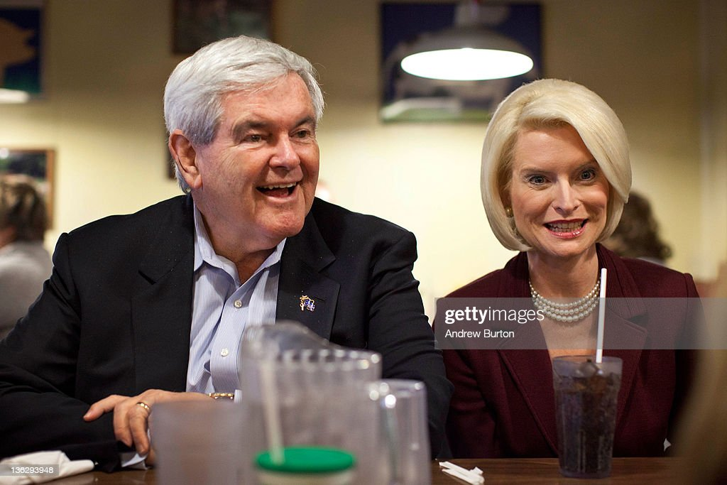 Republican presidential candidate <a gi-track='captionPersonalityLinkClicked' href=/galleries/search?phrase=Newt+Gingrich&family=editorial&specificpeople=202915 ng-click='$event.stopPropagation()'>Newt Gingrich</a> sits down for lunch with his wife <a gi-track='captionPersonalityLinkClicked' href=/galleries/search?phrase=Callista+Gingrich&family=editorial&specificpeople=4374496 ng-click='$event.stopPropagation()'>Callista Gingrich</a> at The Farmer's Kitchen on December 31, 2011 in Atlantic, Iowa. The GOP presidential contenders are crisscrossing Iowa in the final stretch of campaigning in the state before the January 3rd caucus, the first test the candidates must face before becoming the Republican presidential nominee.
