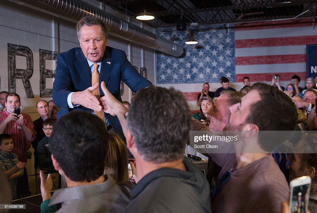 John Kasich Holds Campaign Rally In Lansing On Day Of Michigan Primary