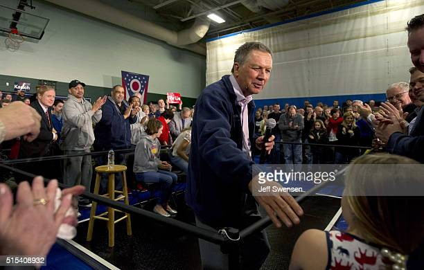 Republican Presidential candidate Ohio Gov John Kasich speaks to supporters at the Ehrnfelt Recreation Center on March 13 2016 in Strongsville Ohio...