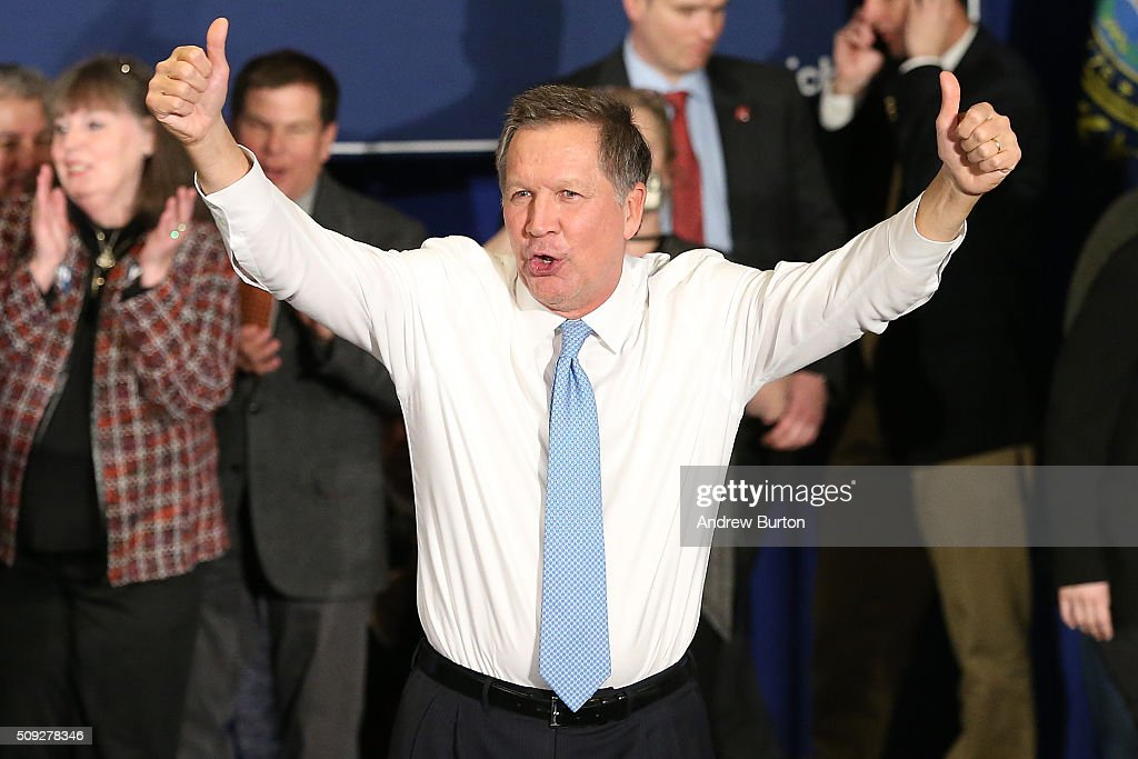 Republican presidential candidate Ohio Governor <a gi-track='captionPersonalityLinkClicked' href=/galleries/search?phrase=John+Kasich&family=editorial&specificpeople=1315571 ng-click='$event.stopPropagation()'>John Kasich</a> waves to the crowd after speaking at a campaign gathering with supporters upon placing second place in the New Hampshire republican primary on February 9, 2016 in Concord, New Hampshire. Kasich lost the Republican primary to Donald Trump, though he upset fellow Republican governors Chris Christie and former Governor Jeb Bush.