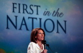 Republican presidential candidate Rep Michele Bachmann addresses the program at the Iowa Straw Poll in the Hilton Coliseum at Iowa State University...
