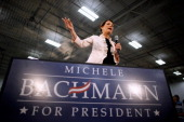 Republican presidential candidate Rep Michele Bachmann delivers a speech and answers employees' questions while visiting Competitive Edge an...