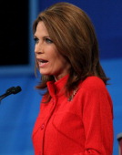 Republican presidential candidate Rep Michele Bachmann speaks in the Fox News/Google GOP Debate at the Orange County Convention Center on September...