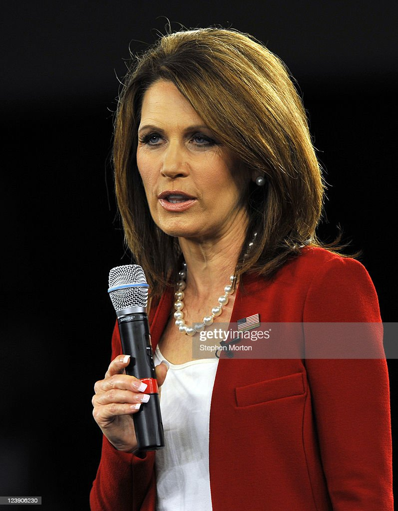 Republican presidential candidate Rep. Michelle Bachmann (R-MN) speaks during the American Principles Project Palmetto Freedom Forum, September 5, 2011 in Columbia, South Carolina. Mitt Romney, Herman Cain, Ron Paul and Newt Gingrich are also scheduled to attend the forum hosted by Sen. Jim DeMint (R-SC). Texas Governor Rick Perry was scheduled to attend as well, but he decided to return to Texas because of the wildfires burning across the state.