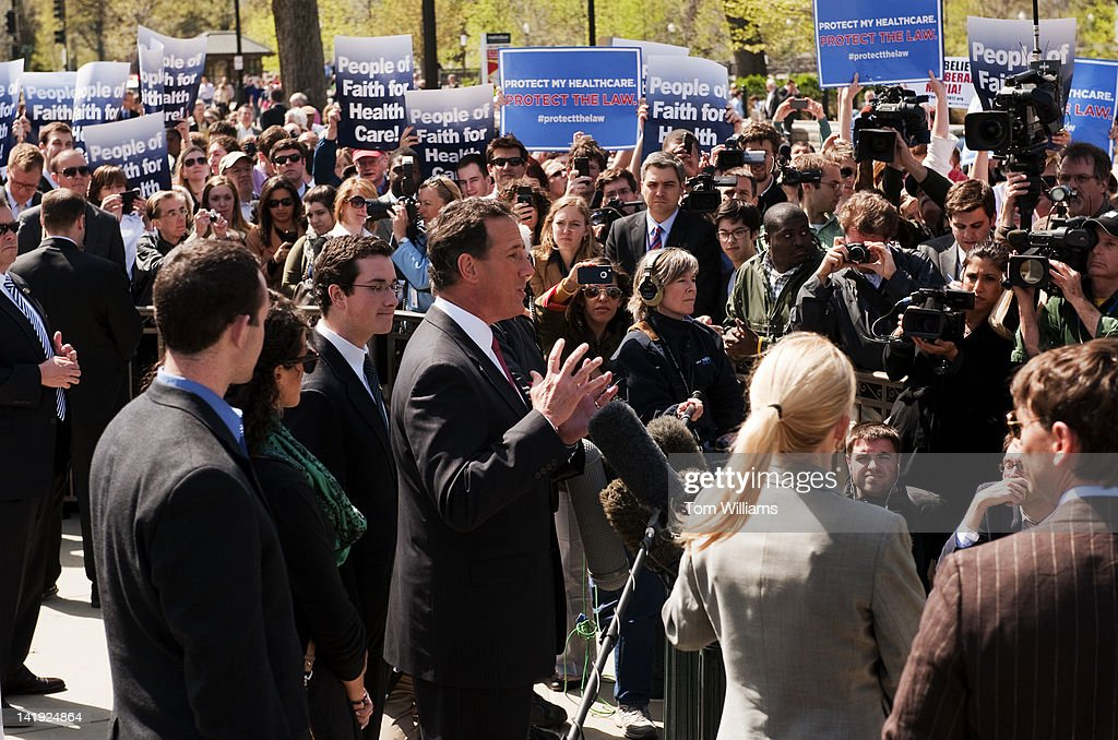 Republican presidential candidate Rick Santorum delivers a speech outside of the Supreme Court on the first day of opening arguments that will determine the constitutionality of President Barack Obama's health care law. Santorum indicated he would repeal the law if elected.