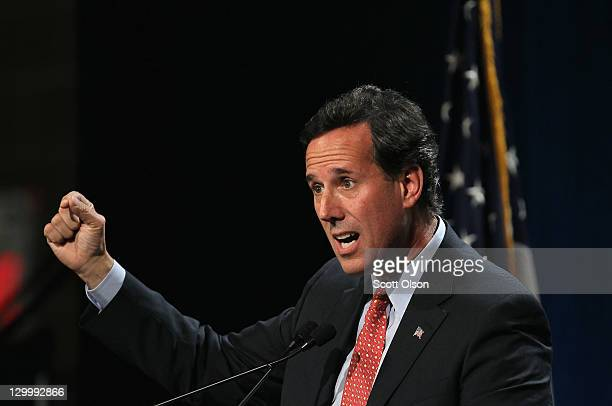 Republican Presidential Candidate Rick Santorum speaks to a gathering of conservative Christians at the Iowa Faith Freedom Coalition Presidential...