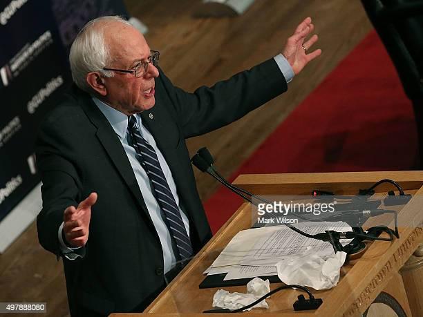 Republican Presidential candidate Sen Bernie Sanders speaks about combating ISIS and democratic socialism at Georgetown University November 19 2015...