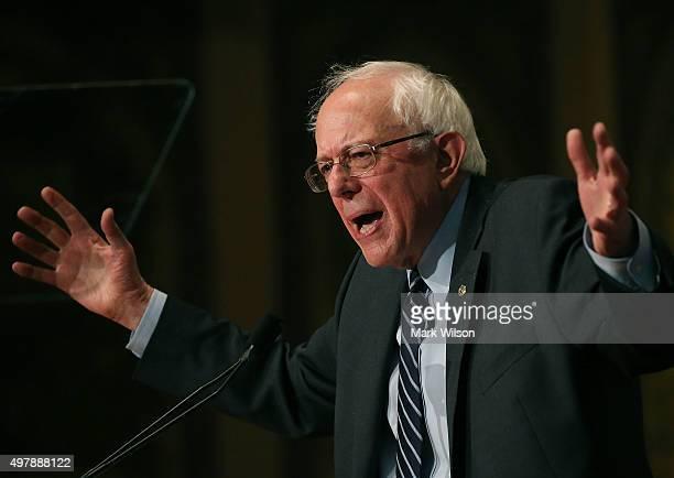 Republican Presidential candidate Sen Bernie Sanders speaks about combating ISIS and democratic socialism atÊGeorgetown University November 19 2015...