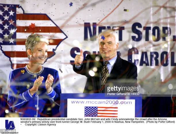 Republican presidential candidate Sen John McCain and wife Cindy acknowledge the crowd after the Arizona senator's primary victory over frontrunner...