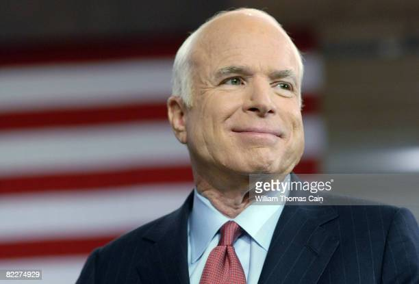 Republican Presidential Candidate Sen John McCain speaks at a Town Hall Meeting while on the campaign trail in the Toyota Arena August 12 2008 in...
