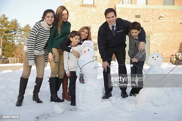 Republican presidential candidate Sen Marco Rubio and his family daughters Daniella and Amanda son Dominick wife Jeanette Dousdebes Rubio and son...