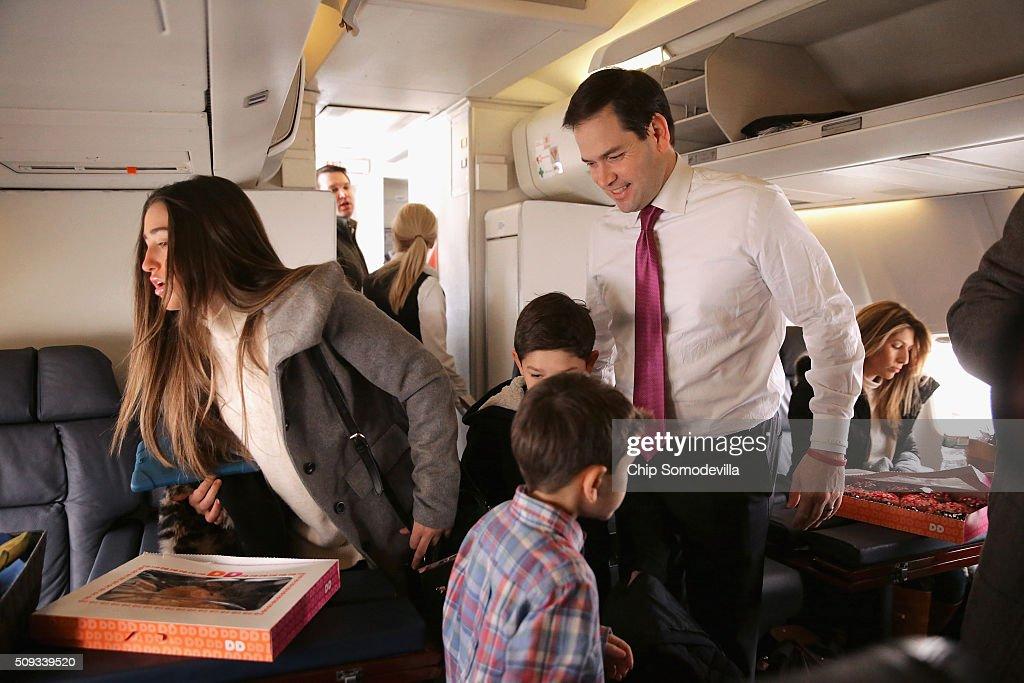 Republican presidential candidate Sen. <a gi-track='captionPersonalityLinkClicked' href=/galleries/search?phrase=Marco+Rubio+-+Politician&family=editorial&specificpeople=11395287 ng-click='$event.stopPropagation()'>Marco Rubio</a> (R-FL) and his family board their chartered plane before departing from Manchester-Boston Regional Airport February 10, 2016 in Manchester, New Hampshire. Rubio placed fifth in the New Hampshire primary, behind fellow GOP candidates Jeb Bush, John Kasich, Sen. Ted Cruz (R-TX) and Donald Trump, who swept away the competition with 35-percent of the vote.