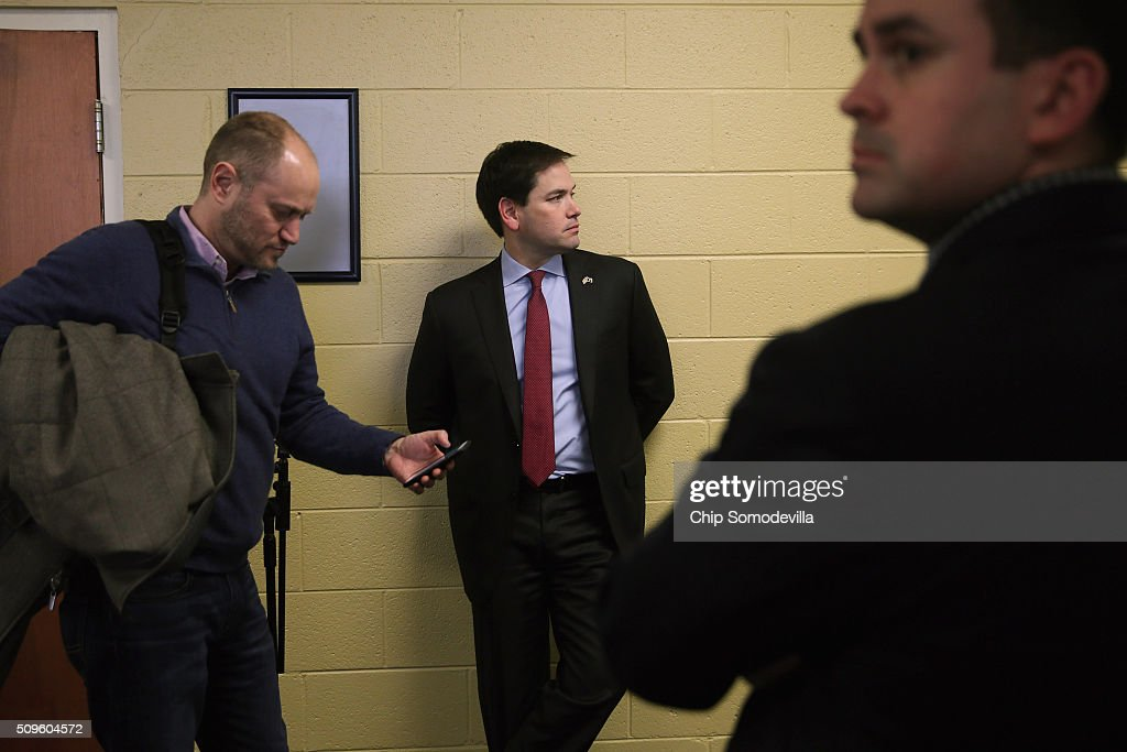 Republican presidential candidate Sen. <a gi-track='captionPersonalityLinkClicked' href=/galleries/search?phrase=Marco+Rubio+-+Politiker&family=editorial&specificpeople=11395287 ng-click='$event.stopPropagation()'>Marco Rubio</a> (R-FL) and Senior Advisor Todd Harris (L) wait backstage before a town hall meeting at the Southside Christian School February 11, 2016 in Simpsonville, South Carolina. Earlier in the week Rubio placed fifth in the New Hampshire primary, behind fellow GOP candidates Jeb Bush, John Kasich, Sen. Ted Cruz (R-TX) and Donald Trump, who won with 35 percent of the vote.