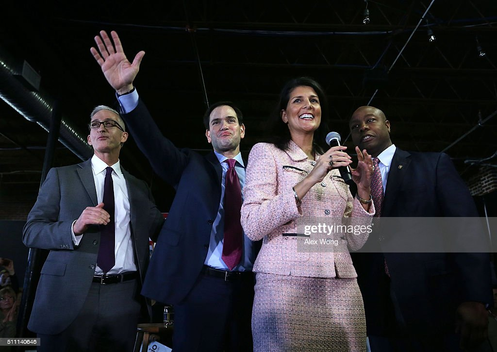 Republican presidential candidate Sen Marco Rubio campaigns with Rep Trey Gowdy Governor Nikki Haley and Sen Tim Scott during an event on February 18...