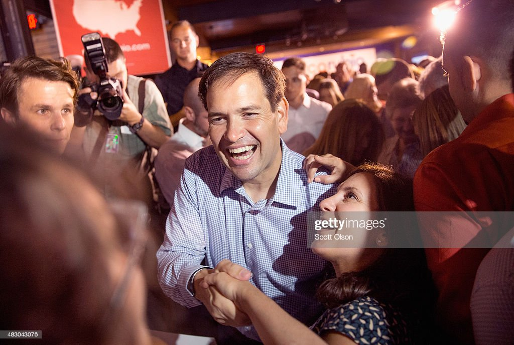Republican presidential candidate Sen. <a gi-track='captionPersonalityLinkClicked' href=/galleries/search?phrase=Marco+Rubio+-+Politician&family=editorial&specificpeople=11395287 ng-click='$event.stopPropagation()'>Marco Rubio</a> (R-FL) greets guests gathered for a campaign event at Town Hall on August 5, 2015 in Cleveland, Ohio. Rubio is in Cleveland to participate in the Fox News GOP presidential candidate debate scheduled to take place tomorrow evening. The top ten polling Republican candidates were chosen to participate in the debate.