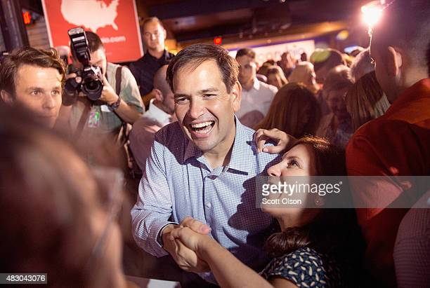 Republican presidential candidate Sen Marco Rubio greets guests gathered for a campaign event at Town Hall on August 5 2015 in Cleveland Ohio Rubio...