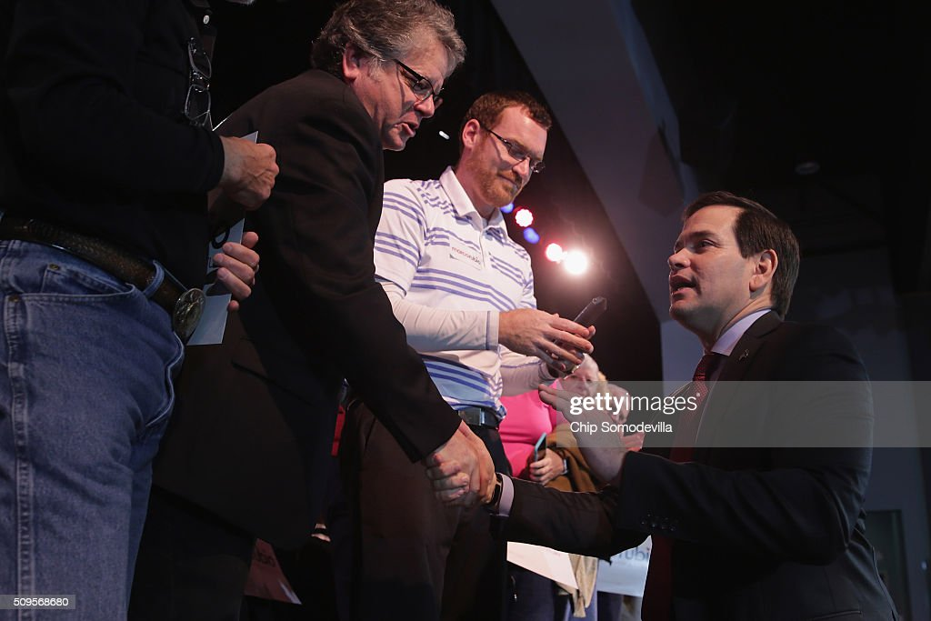 Republican presidential candidate Sen. <a gi-track='captionPersonalityLinkClicked' href=/galleries/search?phrase=Marco+Rubio+-+Politician&family=editorial&specificpeople=11395287 ng-click='$event.stopPropagation()'>Marco Rubio</a> (R-FL) greets people at the conclusion of a campaign town hall meeting at the Sun City Hilton Head's Magnolia Hall February 11, 2016 in Okatie, South Carolina. Earlier in the week Rubio placed fifth in the New Hampshire primary, behind fellow GOP candidates Jeb Bush, John Kasich, Sen. Ted Cruz (R-TX) and Donald Trump, who won with 35 percent of the vote.