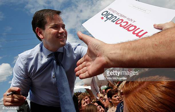 Republican presidential candidate Sen Marco Rubio greets supporters while campaigning at That Little Restaurant March 14 2016 in Melbourne Florida...