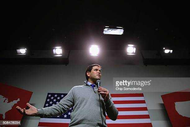 Republican presidential candidate Sen Marco Rubio holds a campaign town hall event at the New Hampshire Institute of Politics at St Anselm College...
