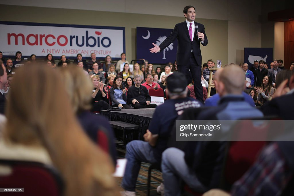 Republican presidential candidate Sen. <a gi-track='captionPersonalityLinkClicked' href=/galleries/search?phrase=Marco+Rubio+-+Politician&family=editorial&specificpeople=11395287 ng-click='$event.stopPropagation()'>Marco Rubio</a> (R-FL) holds a campaign town hall at the Columbia Metropolitan Convention Center February 10, 2016 in Columbia, South Carolina. Rubio placed fifth in the New Hampshire primary, behind fellow GOP candidates Jeb Bush, John Kasich, Sen. Ted Cruz (R-TX) and Donald Trump, who won with 35 percent of the vote.