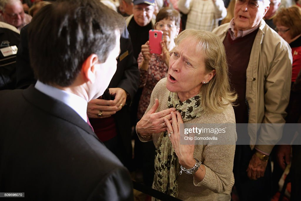 Republican presidential candidate Sen. Marco Rubio (R-FL) listens to concerned and emotional voters during a campaign town hall meeting at the Crown Reef Beach Resort February 11, 2016 in Myrtle Beach, South Carolina. Earlier in the week Rubio placed fifth in the New Hampshire primary, behind fellow GOP candidates Jeb Bush, John Kasich, Sen. Ted Cruz (R-TX) and Donald Trump, who won with 35 percent of the vote.