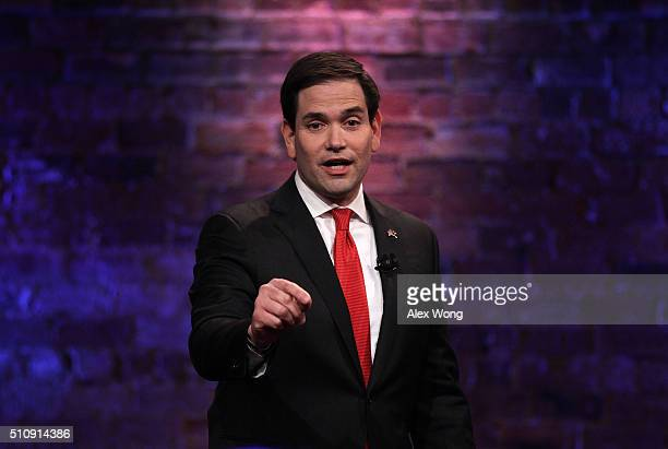 Republican presidential candidate Sen Marco Rubio participates in a CNN South Carolina Republican Presidential Town Hall February 17 2016 in...