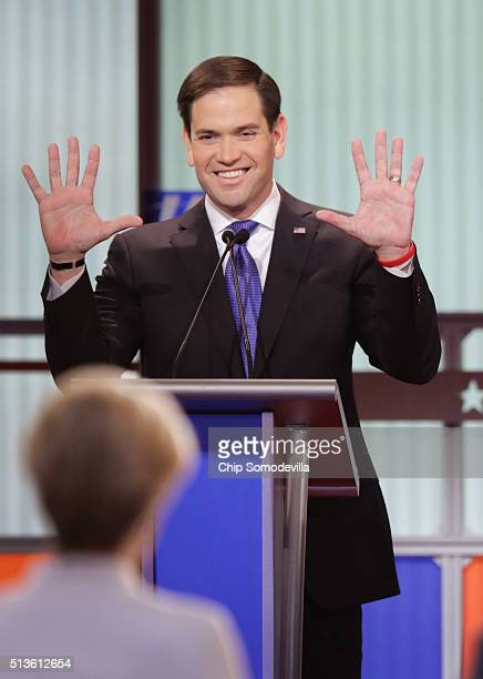 Republican presidential candidate Sen Marco Rubio participates in a debate sponsored by Fox News on March 3 2016 in Detroit Michigan Voters in...