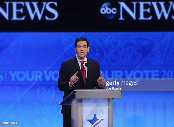 Republican presidential candidate Sen Marco Rubio participates in the Republican presidential debate at St Anselm College February 6 2016 in...