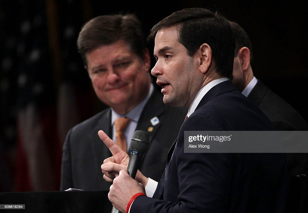Republican presidential candidate Sen. <a gi-track='captionPersonalityLinkClicked' href=/galleries/search?phrase=Marco+Rubio+-+Politiker&family=editorial&specificpeople=11395287 ng-click='$event.stopPropagation()'>Marco Rubio</a> (R-FL) (R) participates in the South Carolina Faith and Family Presidential Forum as moderator Oran Smith (L) looks on February 12, 2016 in Greenville, South Carolina. Four Republican candidates joined the forum as they continued to campaign in the Palmetto State.