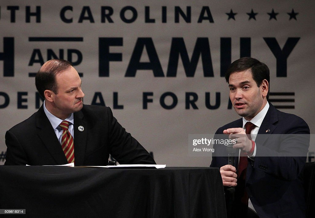Republican presidential candidate Sen. <a gi-track='captionPersonalityLinkClicked' href=/galleries/search?phrase=Marco+Rubio+-+Politician&family=editorial&specificpeople=11395287 ng-click='$event.stopPropagation()'>Marco Rubio</a> (R-FL) (R) participates in the South Carolina Faith and Family Presidential Forum as moderator South Carolina Attorney General Alan Wilson (L) looks on February 12, 2016 in Greenville, South Carolina. Four Republican candidates joined the forum as they continued to campaign in the Palmetto State.
