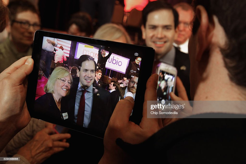 Republican presidential candidate Sen. <a gi-track='captionPersonalityLinkClicked' href=/galleries/search?phrase=Marco+Rubio+-+Politician&family=editorial&specificpeople=11395287 ng-click='$event.stopPropagation()'>Marco Rubio</a> (R-FL) poses for photographs during a campaign town hall meeting at the Sun City Hilton Head's Magnolia Hall February 11, 2016 in Okatie, South Carolina. Earlier in the week Rubio placed fifth in the New Hampshire primary, behind fellow GOP candidates Jeb Bush, John Kasich, Sen. Ted Cruz (R-TX) and Donald Trump, who won with 35 percent of the vote.