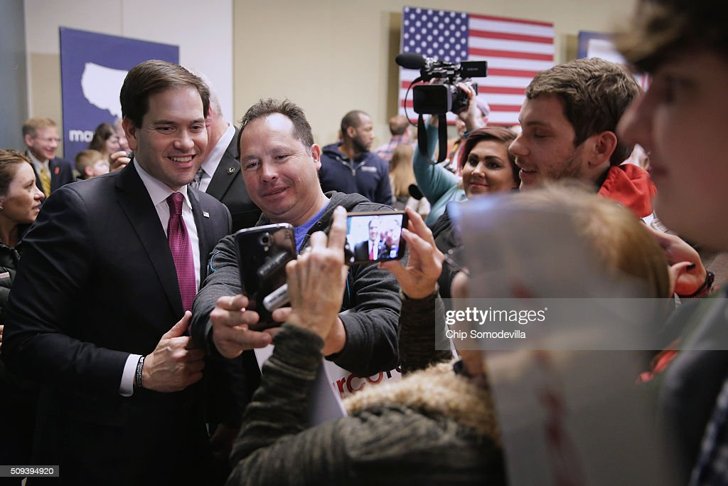 Republican presidential candidate Sen. <a gi-track='captionPersonalityLinkClicked' href=/galleries/search?phrase=Marco+Rubio+-+Politician&family=editorial&specificpeople=11395287 ng-click='$event.stopPropagation()'>Marco Rubio</a> (R-FL) poses for photos with supporters at the conclusion of a campaign town hall at the Columbia Metropolitan Convention Center February 10, 2016 in Columbia, South Carolina. Rubio placed fifth in the New Hampshire primary, behind fellow GOP candidates Jeb Bush, John Kasich, Sen. Ted Cruz (R-TX) and Donald Trump, who swept away the competition with 35-percent of the vote.