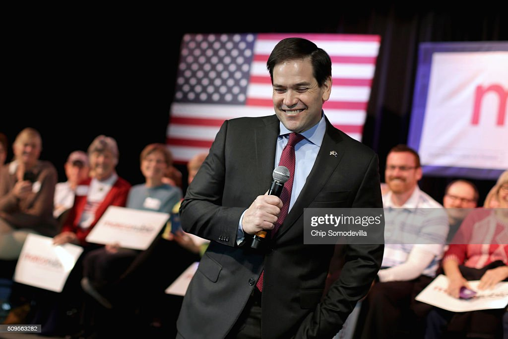 Republican presidential candidate Sen. <a gi-track='captionPersonalityLinkClicked' href=/galleries/search?phrase=Marco+Rubio+-+Politicus&family=editorial&specificpeople=11395287 ng-click='$event.stopPropagation()'>Marco Rubio</a> (R-FL) speaks a campaign town hall meeting at the Sun City Hilton Head's Magnolia Hall February 11, 2016 in Okatie, South Carolina. Earlier in the week Rubio placed fifth in the New Hampshire primary, behind fellow GOP candidates Jeb Bush, John Kasich, Sen. Ted Cruz (R-TX) and Donald Trump, who won with 35 percent of the vote.