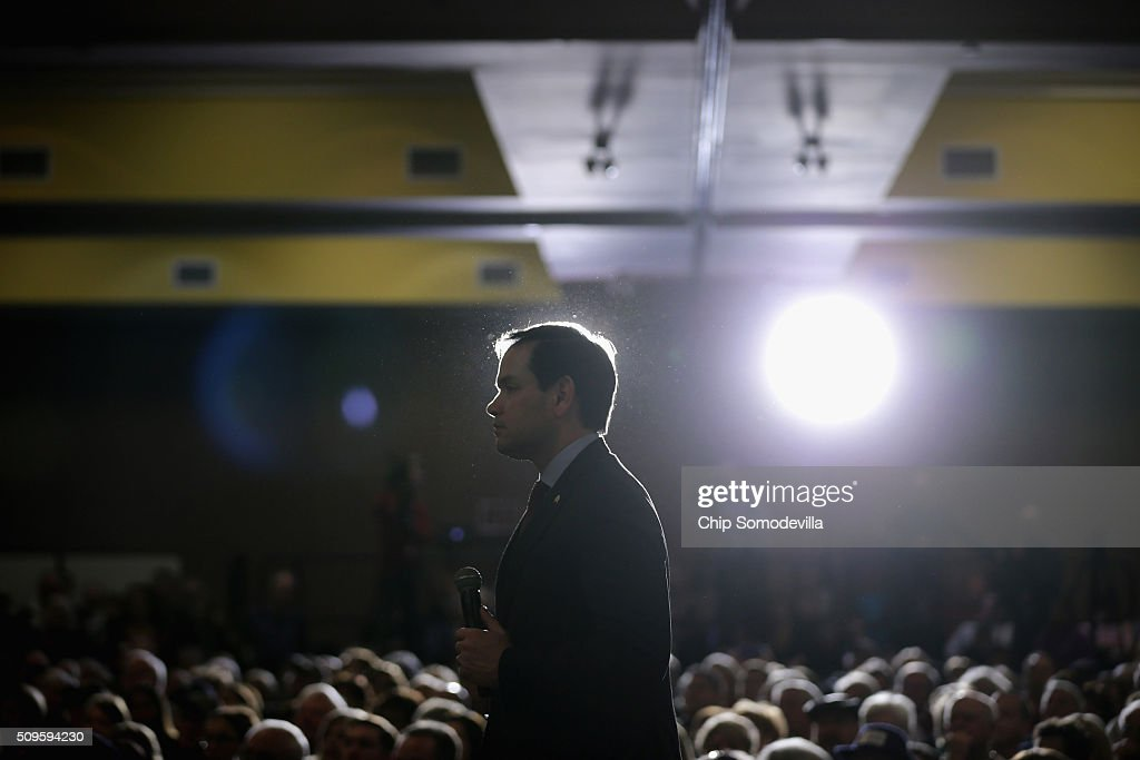 Republican presidential candidate Sen. <a gi-track='captionPersonalityLinkClicked' href=/galleries/search?phrase=Marco+Rubio+-+Pol%C3%ADtico&family=editorial&specificpeople=11395287 ng-click='$event.stopPropagation()'>Marco Rubio</a> (R-FL) speaks a campaign town hall meeting at the Crown Reef Beach Resort February 11, 2016 in Myrtle Beach, South Carolina. Earlier in the week Rubio placed fifth in the New Hampshire primary, behind fellow GOP candidates Jeb Bush, John Kasich, Sen. Ted Cruz (R-TX) and Donald Trump, who won with 35 percent of the vote.