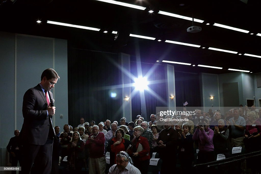 Republican presidential candidate Sen. <a gi-track='captionPersonalityLinkClicked' href=/galleries/search?phrase=Marco+Rubio+-+Politiker&family=editorial&specificpeople=11395287 ng-click='$event.stopPropagation()'>Marco Rubio</a> (R-FL) speaks at a campaign town hall meeting at the Sun City Hilton Head's Magnolia Hall February 11, 2016 in Okatie, South Carolina. Earlier in the week Rubio placed fifth in the New Hampshire primary, behind fellow GOP candidates Jeb Bush, John Kasich, Sen. Ted Cruz (R-TX) and Donald Trump, who won with 35 percent of the vote.