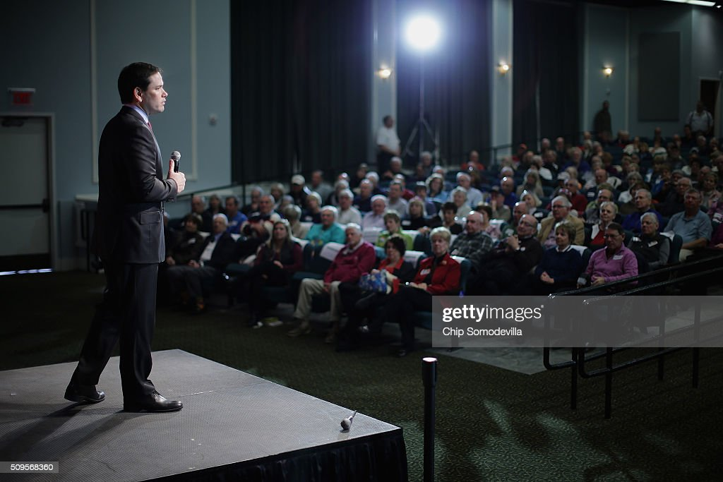 Republican presidential candidate Sen. <a gi-track='captionPersonalityLinkClicked' href=/galleries/search?phrase=Marco+Rubio+-+Politician&family=editorial&specificpeople=11395287 ng-click='$event.stopPropagation()'>Marco Rubio</a> (R-FL) speaks at a campaign town hall meeting at the Sun City Hilton Head's Magnolia Hall February 11, 2016 in Okatie, South Carolina. Earlier in the week Rubio placed fifth in the New Hampshire primary, behind fellow GOP candidates Jeb Bush, John Kasich, Sen. Ted Cruz (R-TX) and Donald Trump, who won with 35 percent of the vote.