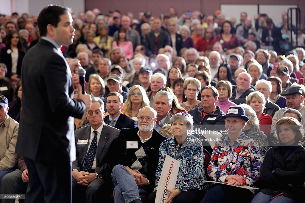 Republican presidential candidate Sen. <a gi-track='captionPersonalityLinkClicked' href=/galleries/search?phrase=Marco+Rubio+-+Politician&family=editorial&specificpeople=11395287 ng-click='$event.stopPropagation()'>Marco Rubio</a> (R-FL) speaks at a campaign town hall meeting at the Crown Reef Beach Resort February 11, 2016 in Myrtle Beach, South Carolina. Earlier in the week Rubio placed fifth in the New Hampshire primary, behind fellow GOP candidates Jeb Bush, John Kasich, Sen. Ted Cruz (R-TX) and Donald Trump, who won with 35 percent of the vote.
