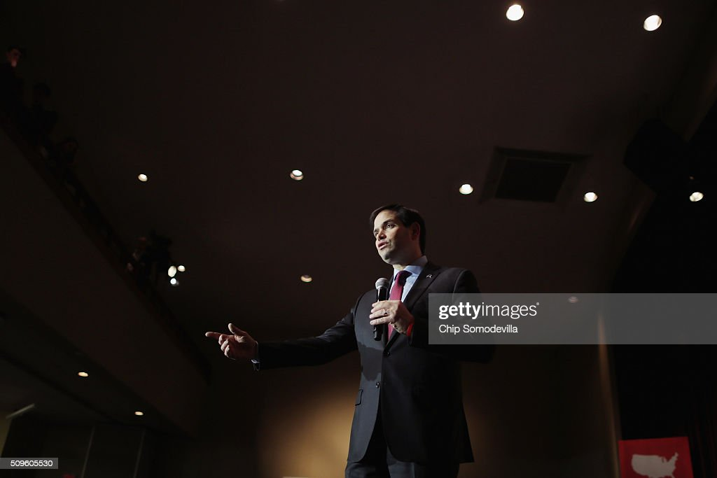 Republican presidential candidate Sen. <a gi-track='captionPersonalityLinkClicked' href=/galleries/search?phrase=Marco+Rubio+-+Politiker&family=editorial&specificpeople=11395287 ng-click='$event.stopPropagation()'>Marco Rubio</a> (R-FL) speaks at a campaign town hall meeting at the Southside Christian School February 11, 2016 in Simpsonville, South Carolina. Earlier in the week Rubio placed fifth in the New Hampshire primary, behind fellow GOP candidates Jeb Bush, John Kasich, Sen. Ted Cruz (R-TX) and Donald Trump, who won with 35 percent of the vote.