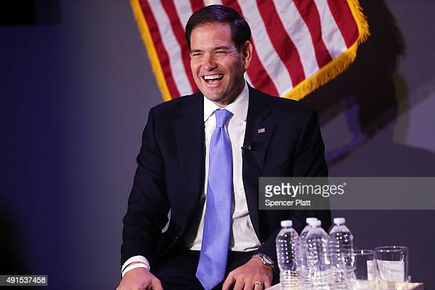 Republican presidential candidate Sen Marco Rubio speaks at Civic Hall about the 'sharing economy' on October 6 2015 in New York City Rubio who has...