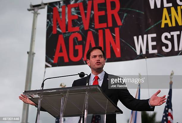 Republican presidential candidate Sen Marco Rubio speaks during a community rally for 'Never Again' which was bringing attention to what the...
