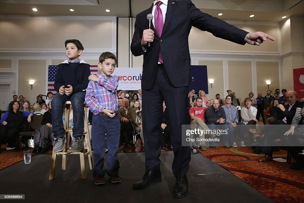 Republican presidential candidate Sen. <a gi-track='captionPersonalityLinkClicked' href=/galleries/search?phrase=Marco+Rubio+-+Politician&family=editorial&specificpeople=11395287 ng-click='$event.stopPropagation()'>Marco Rubio</a> (R-FL) speaks during a campaign rally with his sons Anthony (L), 10, and Dominick, 8, at the Marriott hotel February 10, 2016 in Spartanburg, South Carolina. Rubio placed fifth in the New Hampshire primary, behind fellow GOP candidates Jeb Bush, John Kasich, Sen. Ted Cruz (R-TX) and Donald Trump, who swept away the competition with 35-percent of the vote.