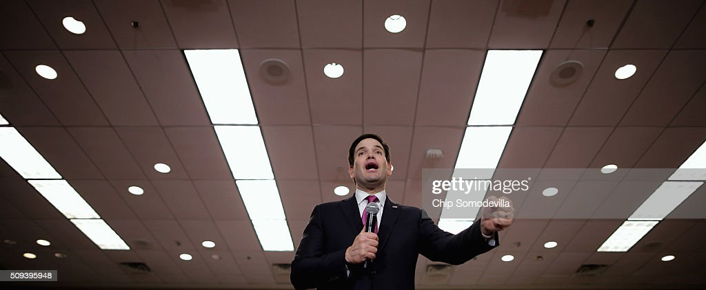 Republican presidential candidate Sen. <a gi-track='captionPersonalityLinkClicked' href=/galleries/search?phrase=Marco+Rubio+-+Politician&family=editorial&specificpeople=11395287 ng-click='$event.stopPropagation()'>Marco Rubio</a> (R-FL) speaks during a campaign rally at the Columbia Metropolitan Convention Center February 10, 2016 in Columbia, South Carolina. Rubio placed fifth in the New Hampshire primary, behind fellow GOP candidates Jeb Bush, John Kasich, Sen. Ted Cruz (R-TX) and Donald Trump, who won with 35 percent of the vote.